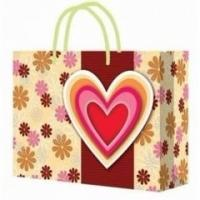 Quality Customized Handle Paper Bag for Shopping / Heart Gift Paper Bags for Souvenir for sale