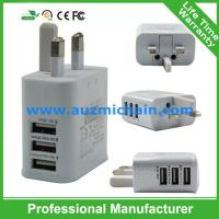 Quality 2015 latest 5V 2A UK plug travel charger 3 port usb wall charger for sale