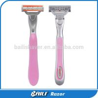 Quality 5 Blade Shaving Razor For Ladies , Sexy Pink Metal With Rubber Handle for sale