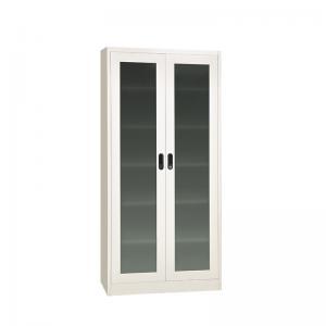 Quality Double Glass H1850mm 2 Door Filing Cabinet Metal adjustable Shelf for sale