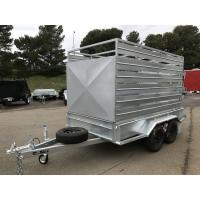 Quality 8 X 5 Galvanised Box Cattle Crate Trailer , Tandem Trailer With Stock Crate for sale