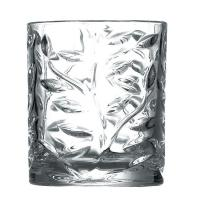 Quality Leaves Pattern Hotel Dinner Glass Cup Set 9 oz White Glass Two Size Cylinder for sale