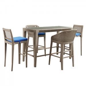Boho Style Rattan Rectangular Outdoor Bar Furniture