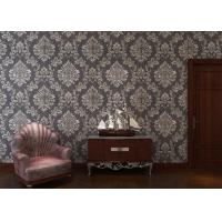 Quality Removable Embossed Vinyl Wallpaper with Sliver and Black Damask Pattern for sale