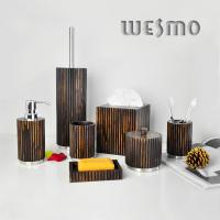 Quality Contemporary Wood Full Bathroom Accessories Set with Black Color and Silver Bottoms for sale