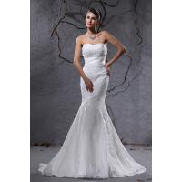 China Latest Design Sweetheart Mermaid Romantic Lace Wedding Gowns , Court Train / Sleeveless on sale