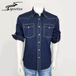 Quality Outdoor Fishing Lightweight Denim Shirt , Dark Denim Shirt Mens For Spring / Autumn for sale