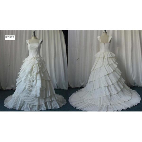Ruffle Ball Gown Wedding Dress: Custom Fashion Ball Gown Straps Ruffles Real Sample