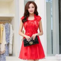 Red Classic Womens Suit Dress