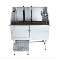 China Professional Dog Grooming Bath Tubs Stainless Steel Made With Walk - In Ramp on sale