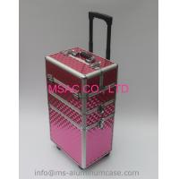 Quality Three Layers Aluminum Makeup Trolley Case With Pink Color for sale