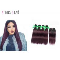 Quality Wine Red Hair Bundles With Closure 4Pcs Ombre Burgundy Bundles With Closure for sale