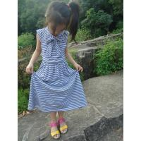 Buy cheap Blue Striped Age 5 Little Girl Summer Dresses Long Bow Girls Knot Dress OEM from wholesalers