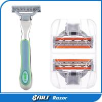 Quality Light green color five blade with a trimmer lady razor Metal handle for sale