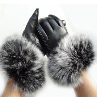 Quality Touch Screen Sheep Womens Soft Leather Gloves With Fluffy Fox Fur Trim Cuff for sale