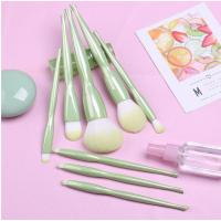 Quality 8 PCS Green Shiny Custom Logo Makeup Brushes Applying Liquid And Powder Flawlessly for sale