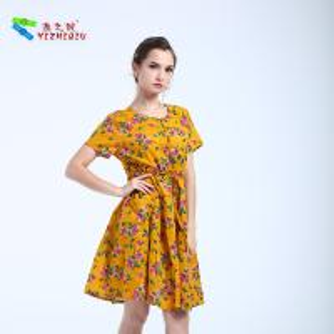 High Waist Style Short Cotton Summer Dresses O Neck Neckline With Pocket