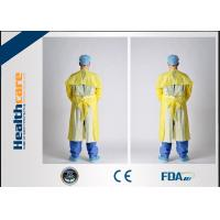 Quality CPE Disposable Isolation Gowns Blue/Yellow Long Sleeve Sterile / Non - Sterile Available for sale