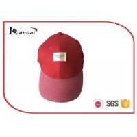 Quality 57cm Size Red cotton 6 panel Baseball Caps Hats with woven label for adults for sale