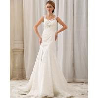 Quality Romantic dropped waist Long Train Wedding Dresses with lace covered back for sale