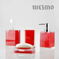 Quality Red Color 4 Piece Polyresin Bathroom Accessories Set for sale