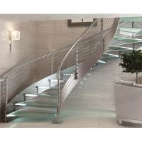 stairs / stainless steel round stairs railing / glass curved stairs