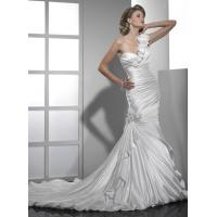 Quality One Shoulder Mermaid Wedding Gowns Satin Mermaid With Chapel Train for sale