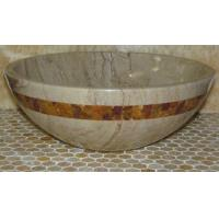 Quality Sahara Beige Marble Kitchen Bathroom Sinks With Multi Red Onyx Mosaic Inlay for sale
