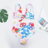 China push up bathing suits Tie a Knot Two-piece  Bathing Suit Bikini With Flower Print High Waist Swimsuit on sale