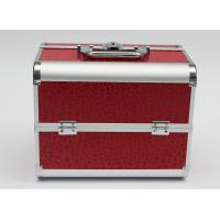 Quality PU aluminum cosmetic case carry cosmetics and tools red leather panel with one lock for sale