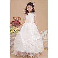 Quality Flower Design Kids Ball Gown Organza Ruffle Unique Flower Girl Dresses , White for sale