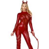China Red Mesh Spandex PVC Vile Vixen Sexy Devil Costume with Size S to XXL Available on sale