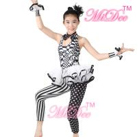 Quality Sleeveless Hip Hop Dance Costumes Halter Black / White Print Dance Unitard Outfits for sale