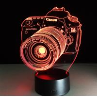 Quality Canon Camera 7 Colors Change 3D LED Night Light with Remote Control Ideal For Birthday Gifts And Party Decoration for sale