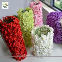 Quality UVG wall decoration flower backdrop in fake hydrangea petals for wedding backdrop ideas for sale