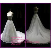 New Model 2014 Wedding Dress Long Tail Bridal Gown with Appliqued Fabric Lace BYB-14587