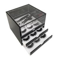 Quality Elegant 3 Grid Acrylic Eyelash Organizer , Plexiglass Eyelash Box For Makeup Tools Storage for sale