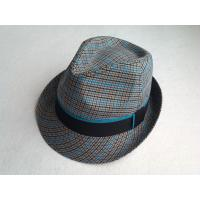 Quality Cool Multi Color Fabric Fedora Straw Hats For Men , Orange Lining Around Crown for sale