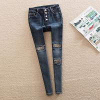 Quality High Waisted Women'S Straight Leg Jeans , Embroidered Pocket Pencil Jeans for sale