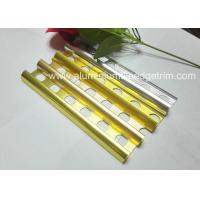Quality Gold Polished Aluminium Tile Edge Trim , Extruded Bathroom Tile Metal Trim for sale