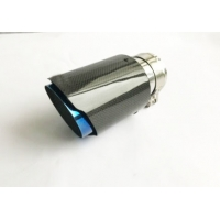 Quality Carbon Fiber Glossy 175mm 2.5 Inlet 3.5 Outlet Exhaust Tip for sale