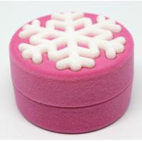 Quality New arrival round shape velvet flocked jewelry earring gift box in snowflake style for sale