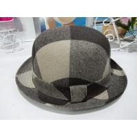 Buy Black Decoration Mens Homburg Hats Roll Up Brim Grid with wool Felt at wholesale prices