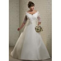 NEW!!! Plus size Long sleeves Ball gown wedding dress Satin Bridal gown #dq5115