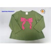 Quality Knot Bow Applique Top Long Sleeve Crew Neck Baby Girl T Shirt for sale