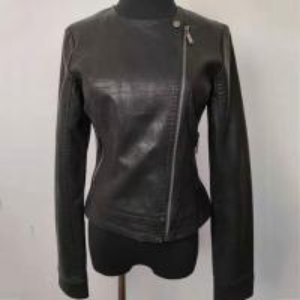 China Slim Fit Fashion Ladies Jackets , Short Black Faux Leather Jacket on sale