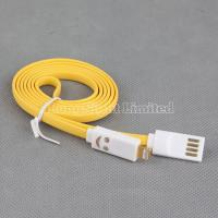 Quality Smiley Face 8 Pin Flat Noodle LED USB Data Sync and Charger Cable for iPhone 5 for sale
