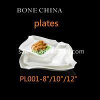 China guangdong bone china unique shape ceramic plates 8/10/12 inch square dinner plates on sale