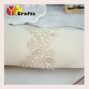 China White Rose Flower Bulk Napkin Ring Laser Cut Wedding Supplies on sale