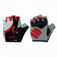 Buy cheap Bicycle Fingerless Gloves, Black Leather Palm with Thick Padded Gel from wholesalers